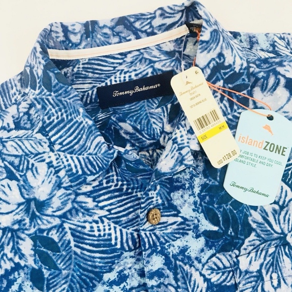 NWT $110 Tommy Bahama Blue SS Shirt Original Fit Island Zone Mens Silk Blend